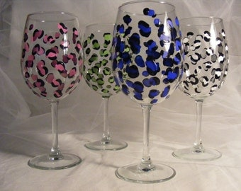 painted wine glasses leopard print assorted custom color print- large 18oz oversize wine glass.  Personalized for birthday or bridesmaids