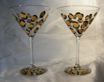 pair of  gold leopard martini glasses