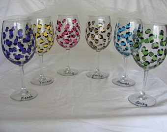 personalized leopard wine glasses in your choice of colors - for bridesmaids, bachelorette, or girls night out