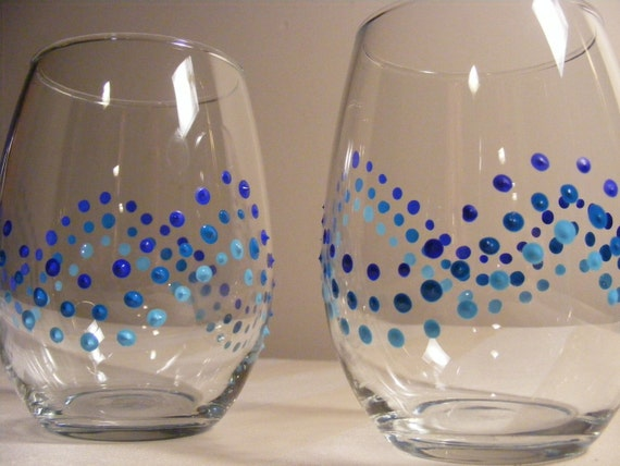 Items similar to painted blue polka dot stemless wine for Painted stemless wine glasses