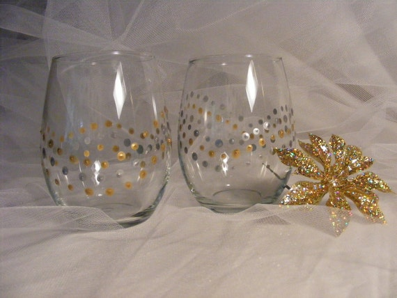 Gold Paint For Glass Painted Wine Glasses Stemless