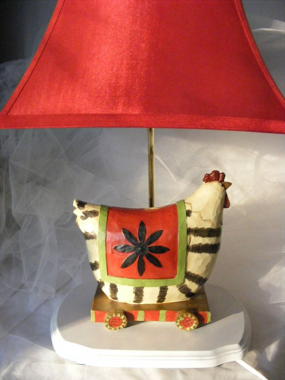 Black Red And White Rooster Table Lamp With Red Silk Shade