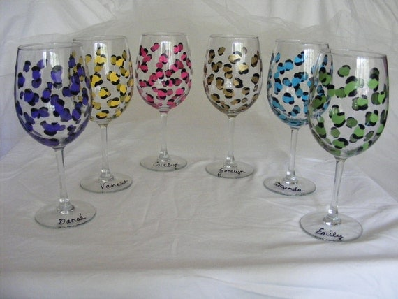 custom personalized leopard print wine glasses in assorted colors for  bridesmaids. birthdays or girls night out