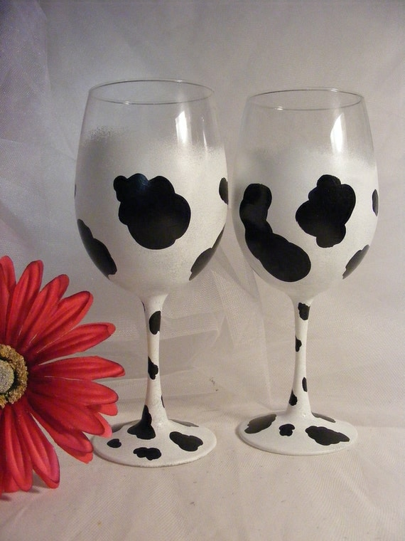 Painted Cow Print Wine Glasses Can Be Personalized