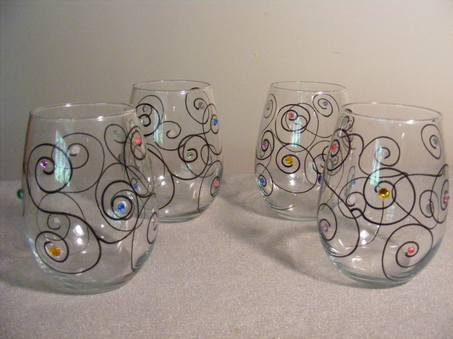 Set of 4 painted stemless wine glasses with by delightfulfinds for Painted stemless wine glasses