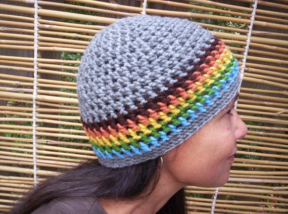 GRAY SKULL CAP with Color Stripes Crochet