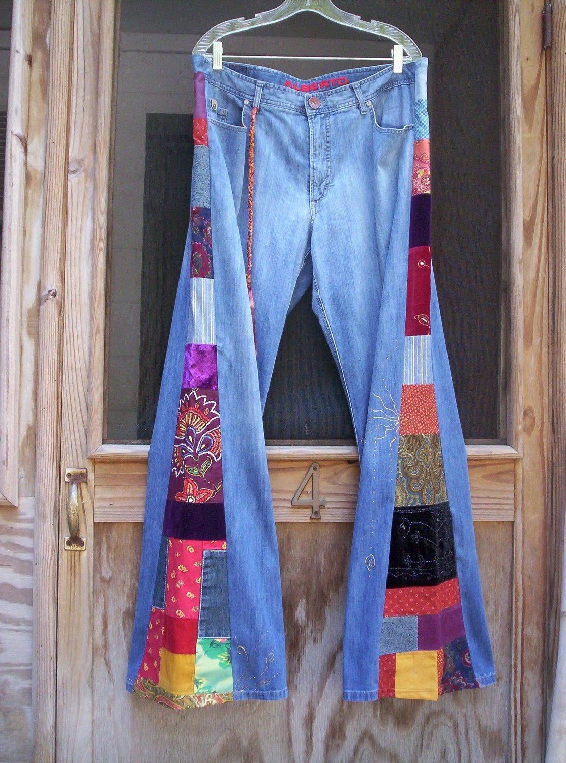 Mens Hippie Patchwork Bell Bottom Jeans - Sex Photo-9558