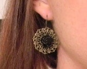 Round Garden Drops - Black Roses on Antiqued Brass Filigree Drop Earrings