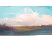 Beautiful Marsh Original Fine Art Acrylic/Paper  Painting 6 x 12  Ready to Frame