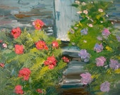 Cottage Garden Stairs to a Doorway  Oil Painting Original 9 x 12 Canvas