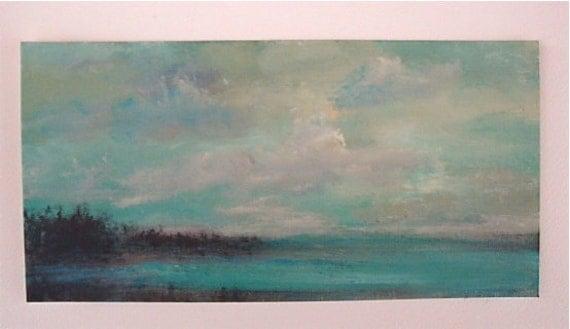Aqua Blue Marsh Original Fine Art Acrylic/Paper  Painting 6 x 12  Ready to Frame