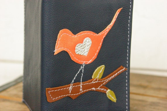 I put a bird on it: leather Refillable Notebook with bird appliqué LINED paper