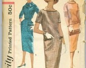 Simplicity 2618 Vintage 50s Sheath Dress Sewing Pattern Size 16 Bust 36 UNCUT
