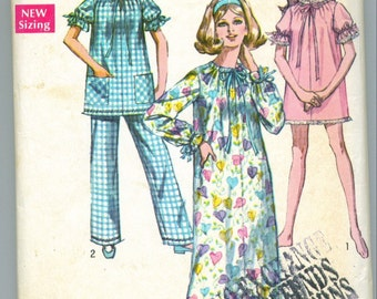 Vintage 1969 Nightgown and Pajamas Sewing Pattern Size Large s8511