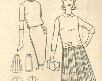 Vintage 1960s Skirts and Tops Sewing Pattern Size 14 McCall's 6046