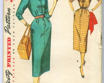 Simplicity 4807 Vintage 50s Day Dress Sewing Pattern Size 12 Bust 30