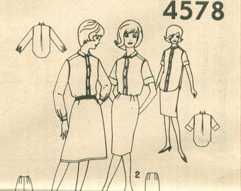 Simplicity 4578 Vintage 60s Blouse Top Skirt Sewing Pattern Size 14 Bust 34 UNCUT