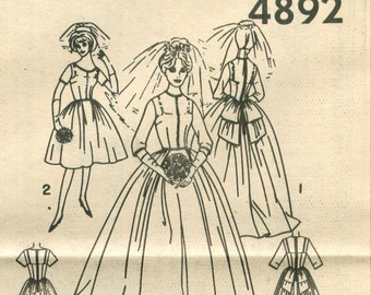 Simplicity 4892 Vintage 60s Wedding Dress Sewing Pattern Size 14 Bust 34 UNCUT