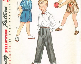 Simplicity 4166 Boys Vintage Shirt Shorts Trousers Sewing Pattern Size 2