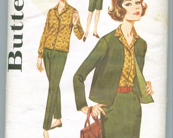 Butterick 2424 Vintage 60s Skirt Jacket Shirt Pants and Short Sewing Pattern Size 14 Bust 34