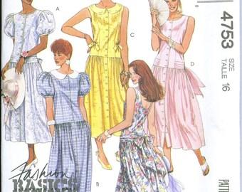 McCall's 4753 UNCUT Drop Waist Dress Sewing Pattern Size 16