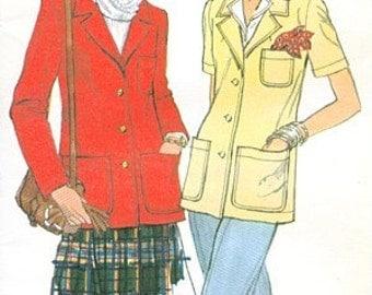 Vogue 9850 Vintage 1970s Jacket Sewing Pattern Size 12