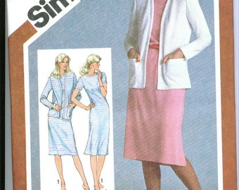 Vintage 1980 Slim Fitting Dress and Cardigan Jacket Sewing Pattern Sizes 16 18 20 s9832