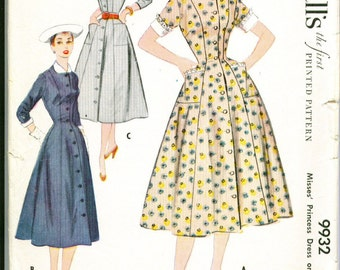 Vintage 1954 Button Front Dress Sewing Pattern Size 12 m9932