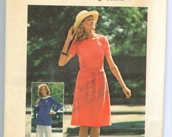 Vintage 1975 Dress or Tunic and Pants Sewing Pattern Size 12 s6841