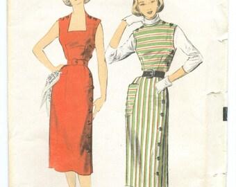 Vintage 1952 Sheath or Jumper Dress Sewing Pattern Factory Folds Size 15 Bust 33 Waist 27 a6035