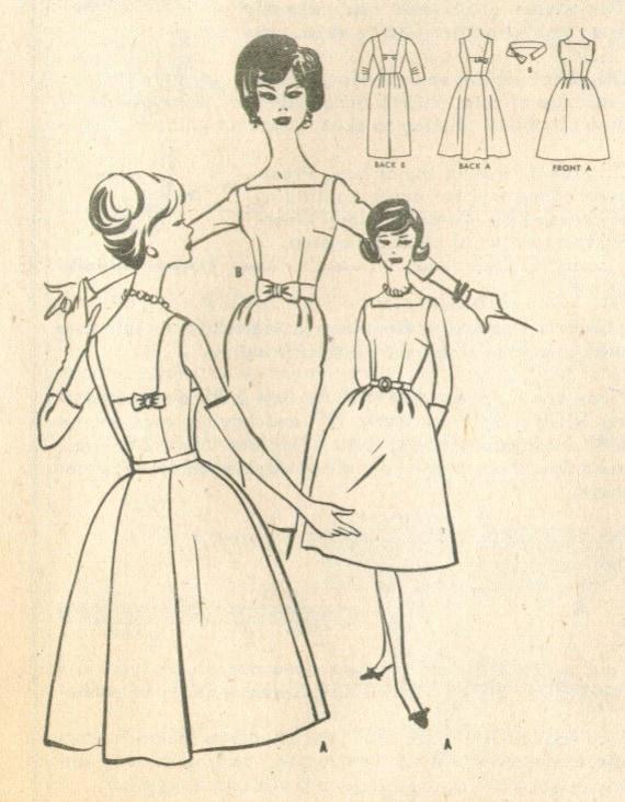 Vintage 1960s Dress Sewing Pattern Size 14 m5881