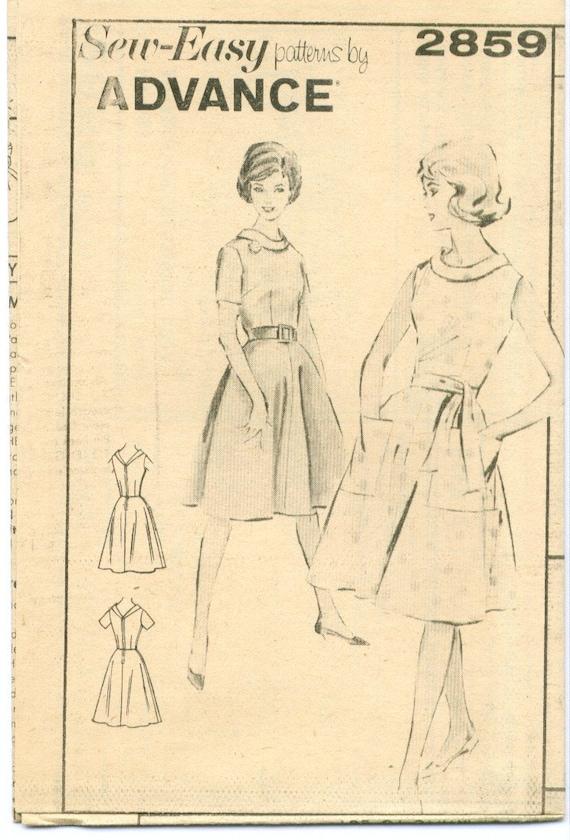 Advance 2859 Vintage 60s Dress Sewing Pattern Size 14 Bust 34