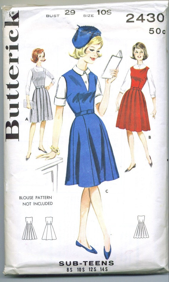 Butterick 2430 Vintage 60s Jumper Sewing Pattern Size Sub Teen 10 Bust 29