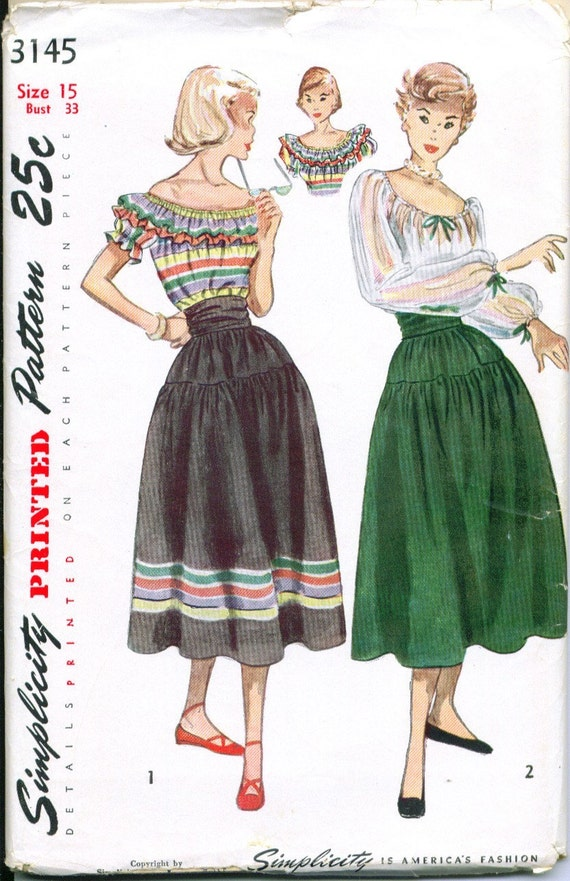 Vintage 1950 Peasant Blouse and Skirt Sewing Pattern Size 15 Bust 33