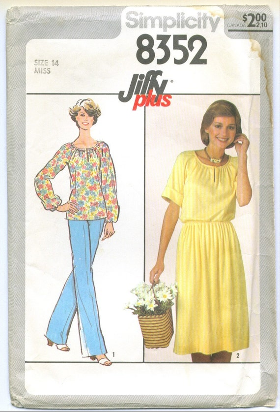 Vintage 1978 Top Skirt and Pants Sewing Pattern Size 14 s8352