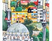 Istanbul Minarets, 6x9 Print