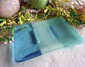 Soap Dish in Turquoise Blue Glass