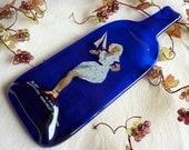 Thanksgiving Sale - Blue Slumped Wine Bottle Cheese Plate - Pure Platinum