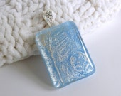 Pale Blue and Silver Glass Pendant