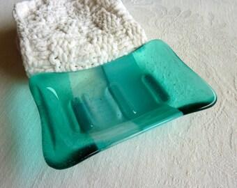 Fused Glass Soap Dish in Aquamarine