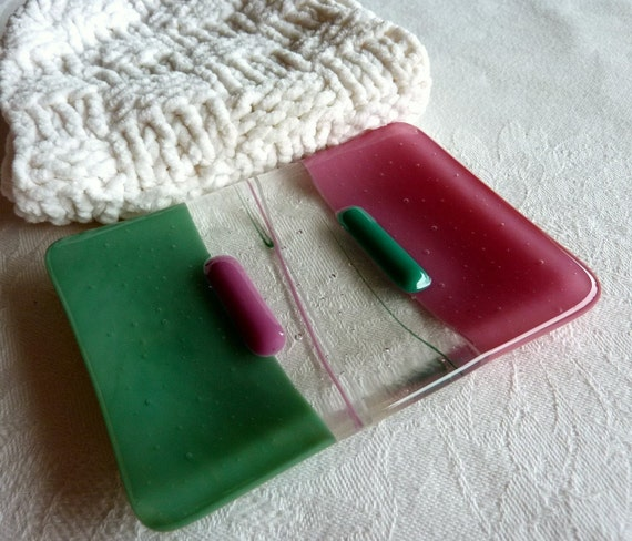 Glass Soap Dish in Pink and Green