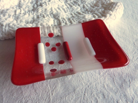 Red and White Glass Soap Dish