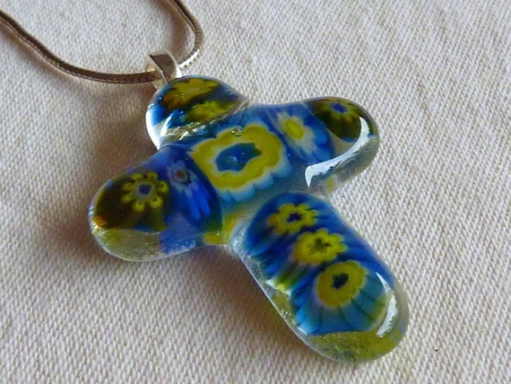 Fused Glass Cross in Blue and Yellow