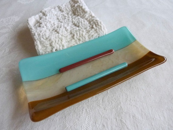 Large Glass Soap Dish in Turquoise, Brown and Cream