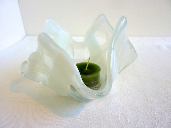 Glass Votive Candle Holder in White and Clear Weave