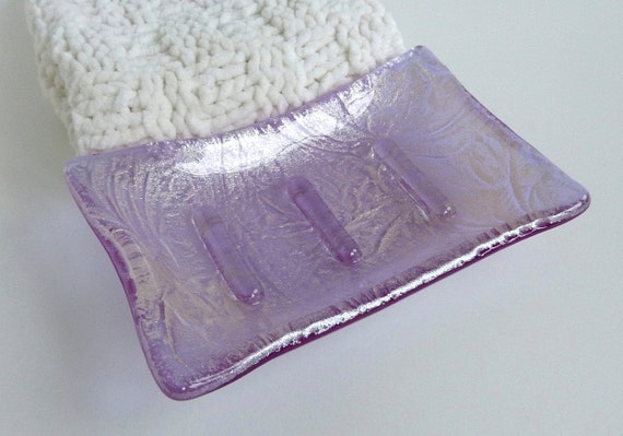 Lavender and Silver Glass Soap Dish