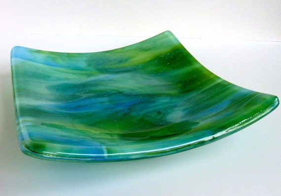 Blue and Green Glass Plate