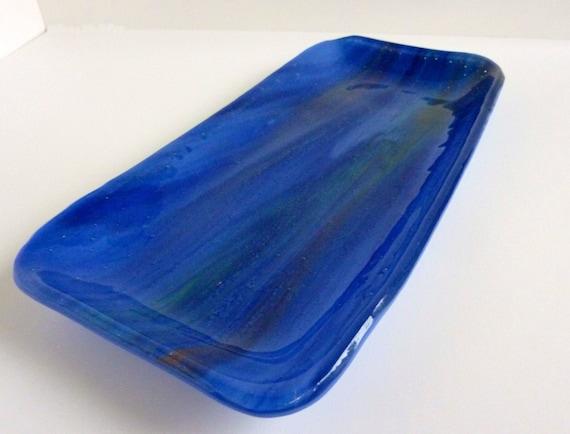 Streaky Blue Glass Tray