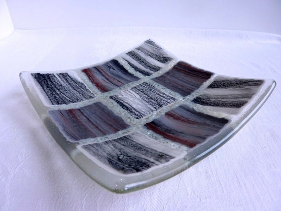 Fused Glass Art Plate in Shades of Gray