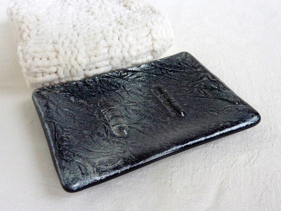 Black and Silver Glass Soap Dish